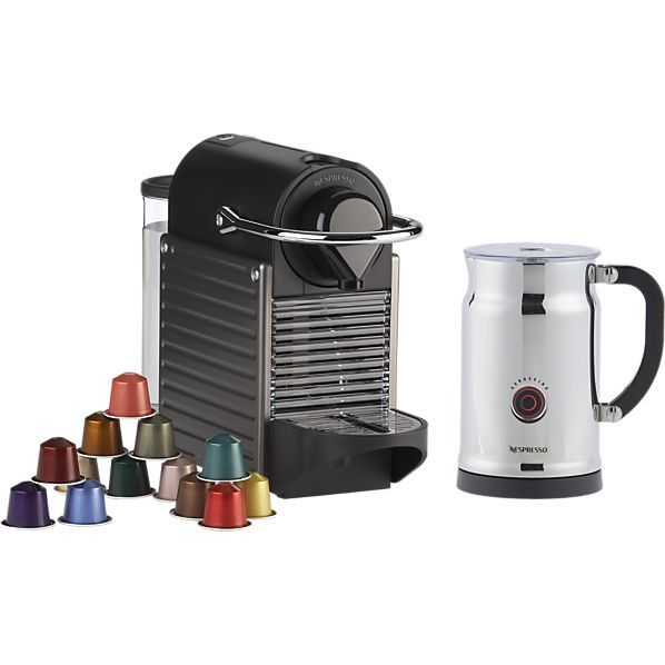 Nespresso Pixie Titan Bundle Crate And Barrel Nespresso Crate And Barrel Portable Espresso Maker