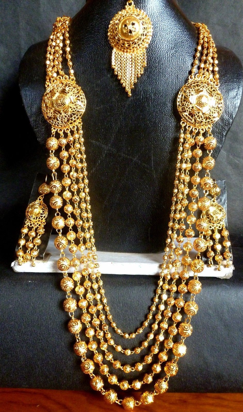South indian gm gold plated ball bead necklace jhumka earrings