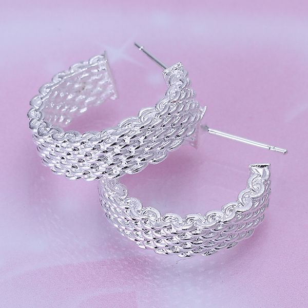 도매 실버 도금 귀걸이, 925 보석 실버 귀걸이, 웹 귀걸이 SMTE082