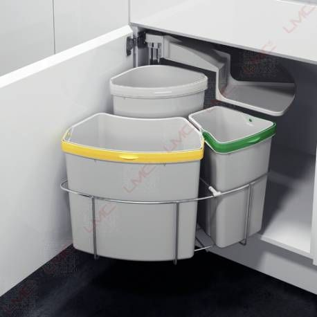 Poubelle A Tri Selectif Rotative 3 Bacs De 18 12 Et 9 Litres Tout Pour Un Espace Cuisine Fonctionnel Poubelle Cuisine Meuble Poubelle Rangement Cuisine