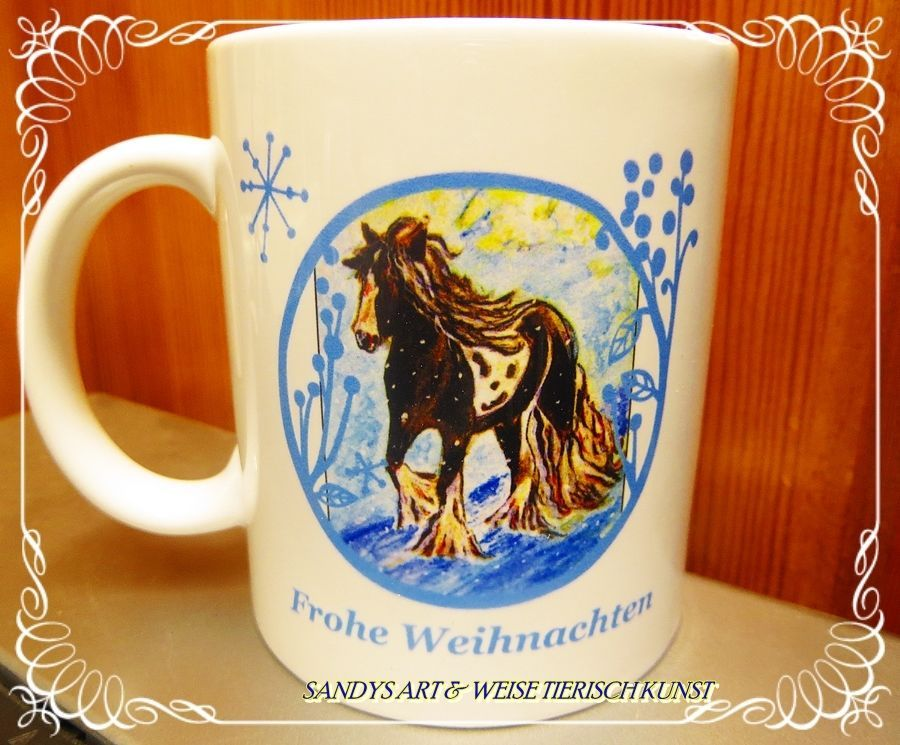 Keramik Becher stabil Weihnachten Pferde Pferdemotiv Tinker S.ART ...