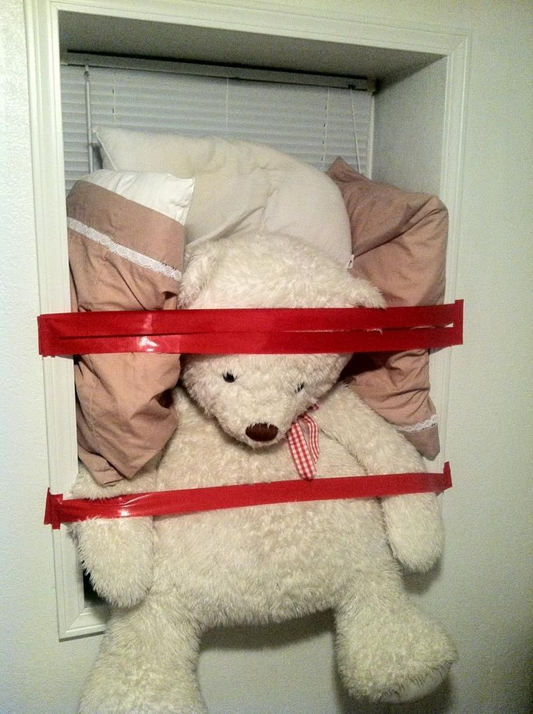 Because beloved stuffed animals are reduced to plugging drafty windows.
