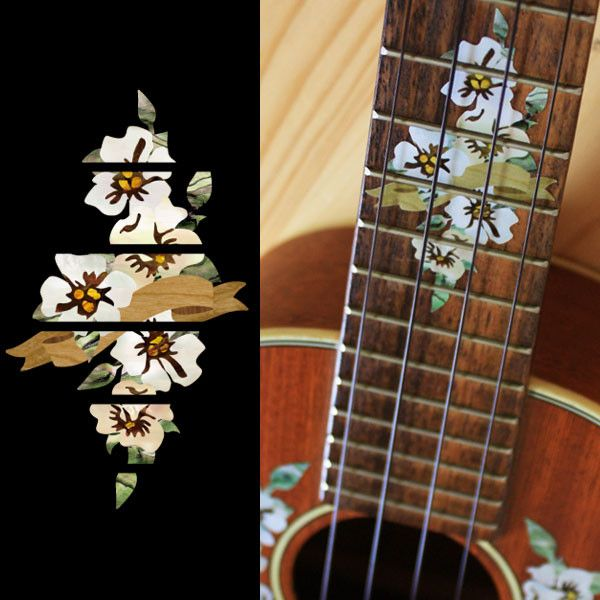 Hibiscus Fret Marker For Concert Ukulele Inlay Stickers Decals