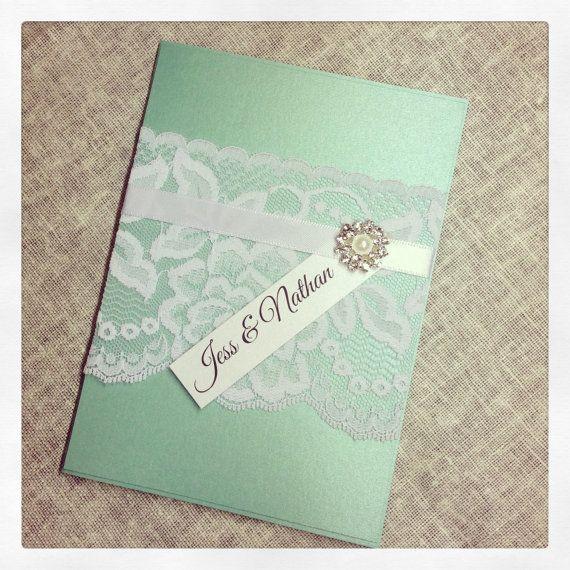 Sample Mint Green Vintage Lace Wedding Invitation Sample