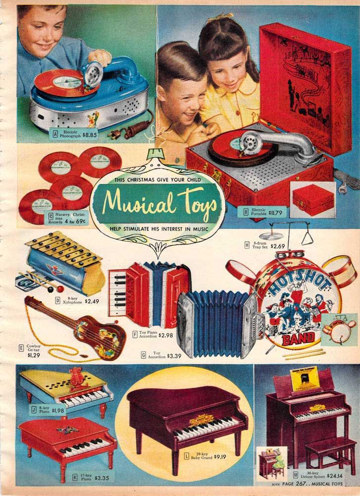 Retro Christmas Toy : Vintage musical toys from a spiegel catalog s