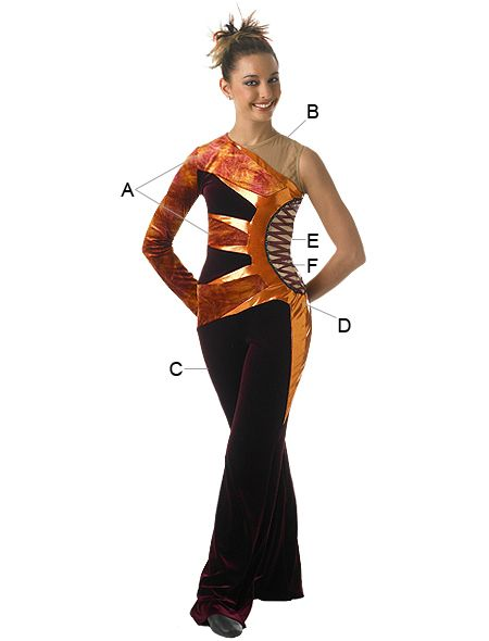 Algy Aztec Jumpsuit Take Right Sleeve Off Cheerleading Uniforms Winter Guard Cheerleading