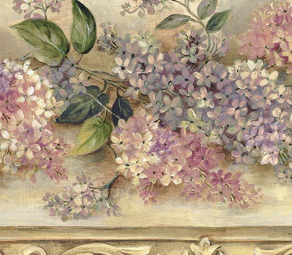 cream and lavender heirloom lilacs wallpaper border on border wall id=17252