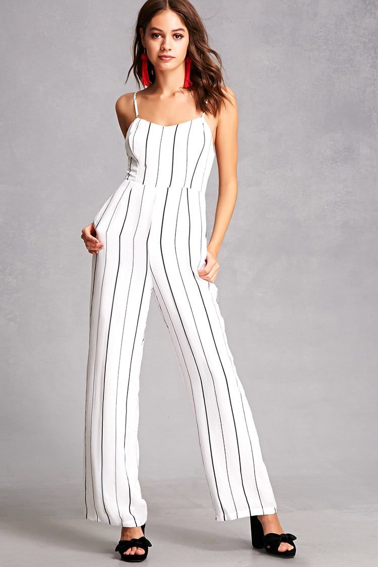 63750b5a6053 A woven jumpsuit featuring an allover pinstripe design