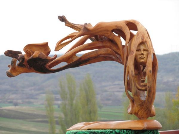 Wood Sculptures of females by artist Aleksandar Tosic titled: 'Flower (Carved Wood abstract Floral sculpture and female Face)'