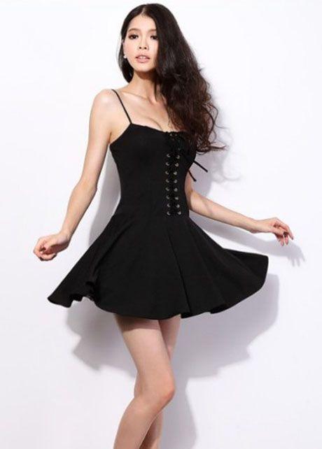 Woman in Spaghetti Strap Dress
