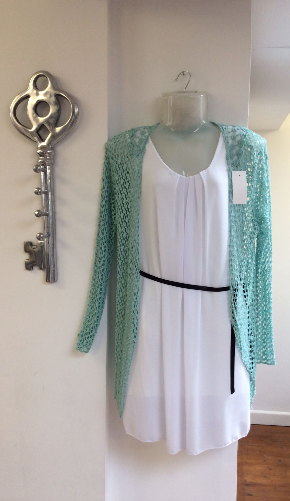 White long vest top with black belt £38.00 and turquoise mesh cardigan £35.00 for the smart casual look... - FREE DELIVERY!