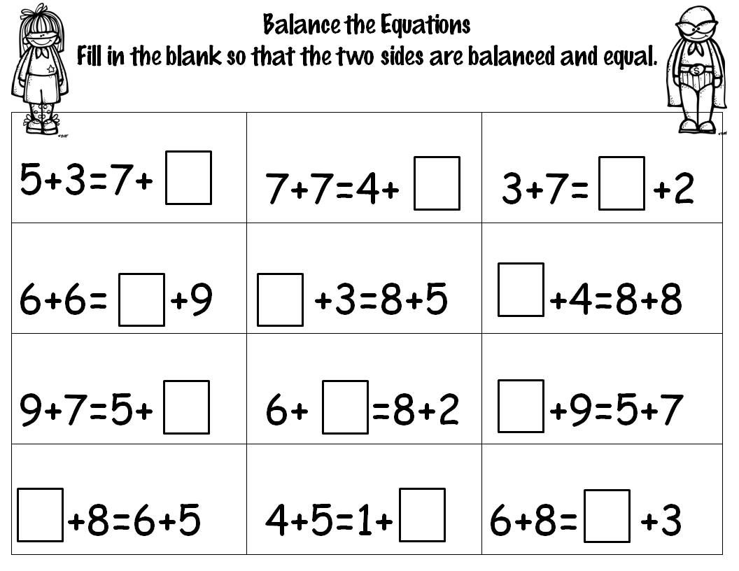 hight resolution of Number Sense equations   1st grade math problems