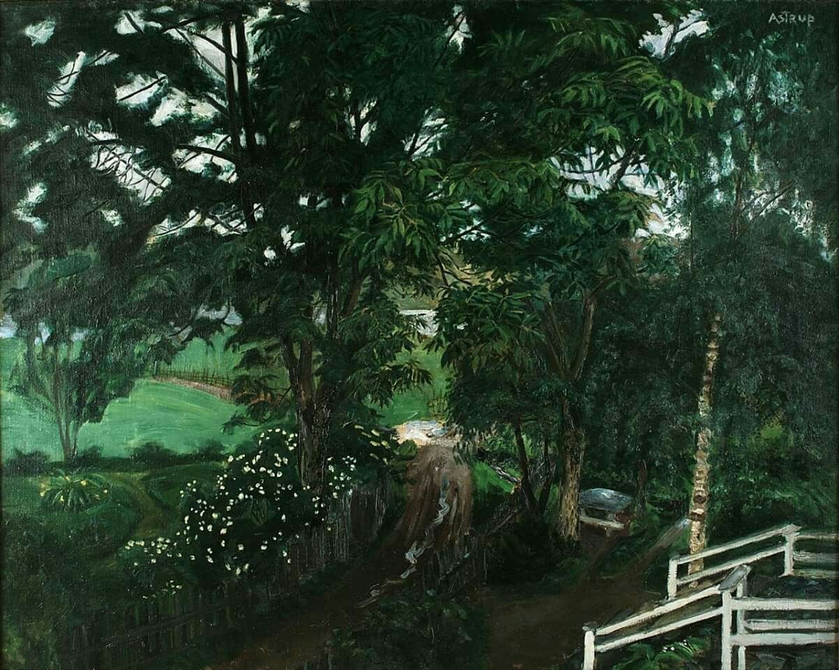 """""""Rainy Atmosphere under the Trees"""", ca 1908, Jølster Vicarage. - Oil on Canvas -"""