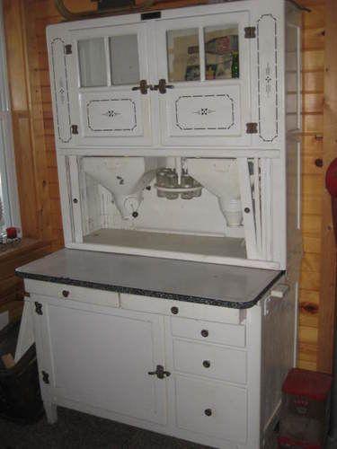 Antique Hoosier Kitchen Cabinet Dual Flour Bins E Rack W Jars Vintage Old