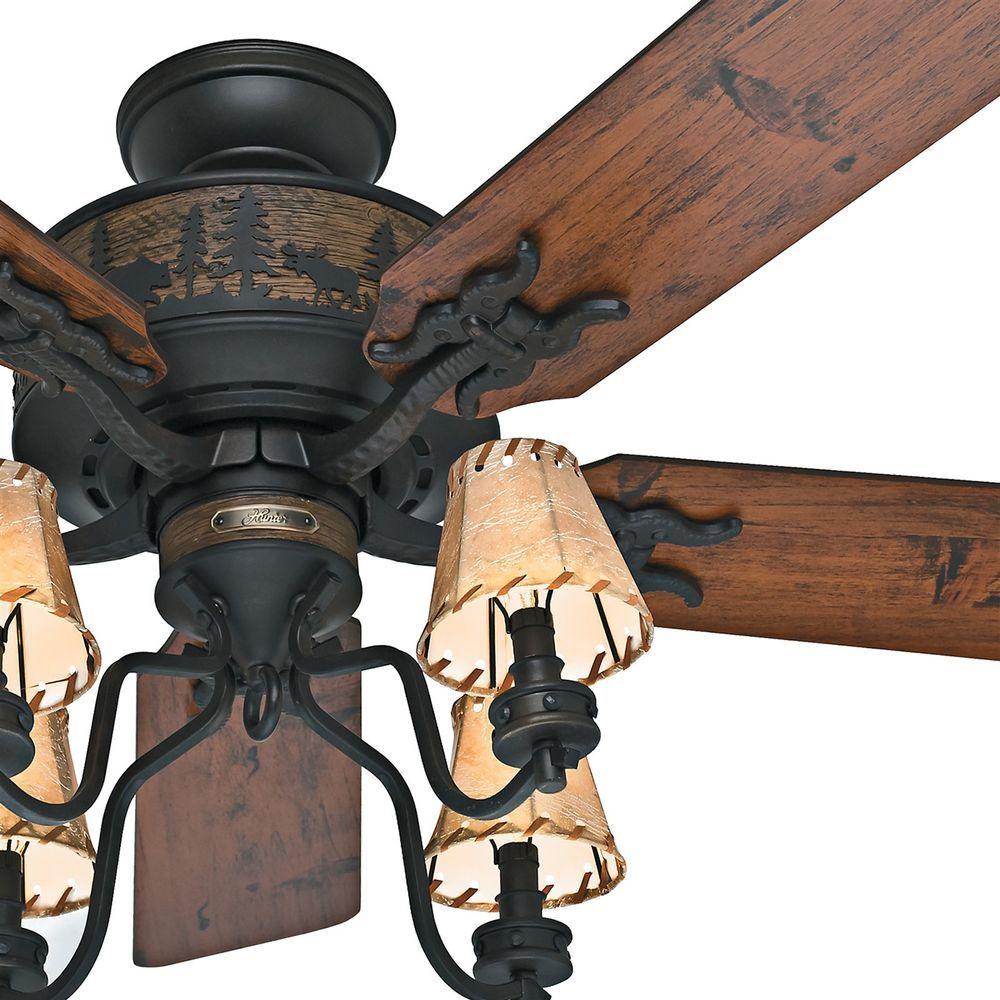 Hunter 52 Brittany Bronze Rustic Cabin Ceiling Fan W 4