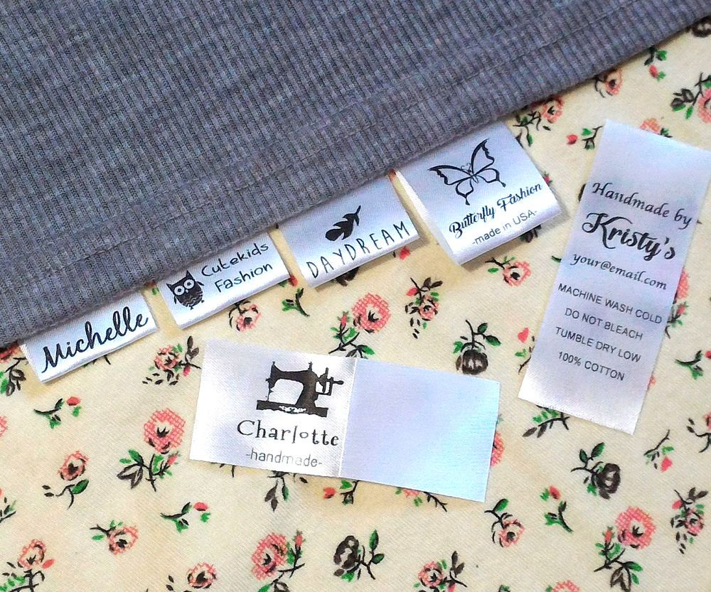 30x custom clothes name label sew in hanging tag garment On sew in craft labels