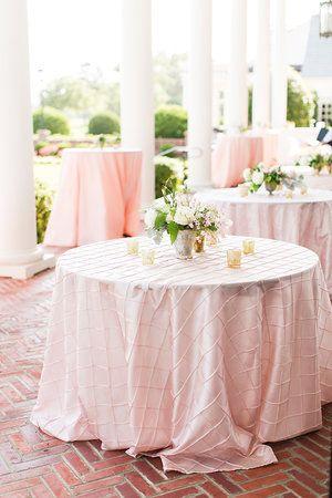 blush pintuck tablecloth for outdoor or indoor wedding photo via