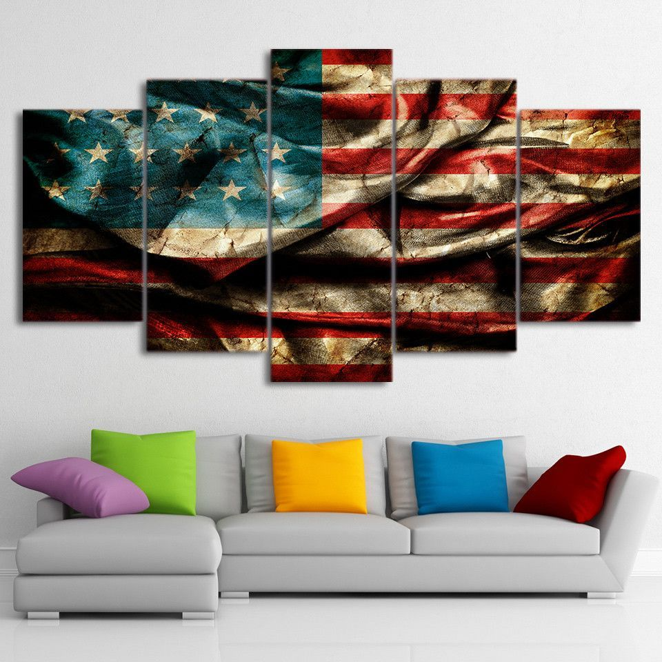 Retro American Cloth Flag is part of Clothes Art Pictures - Get your READY TO HANG Flag canvas print today  Panel Wall Art is the leading Canvas Printing Wholesaler  Free Shipping Worldwide