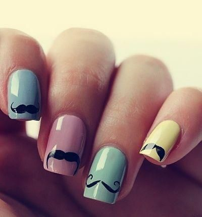Adorable Nail Design With Different Mustaches Fashion And Cute