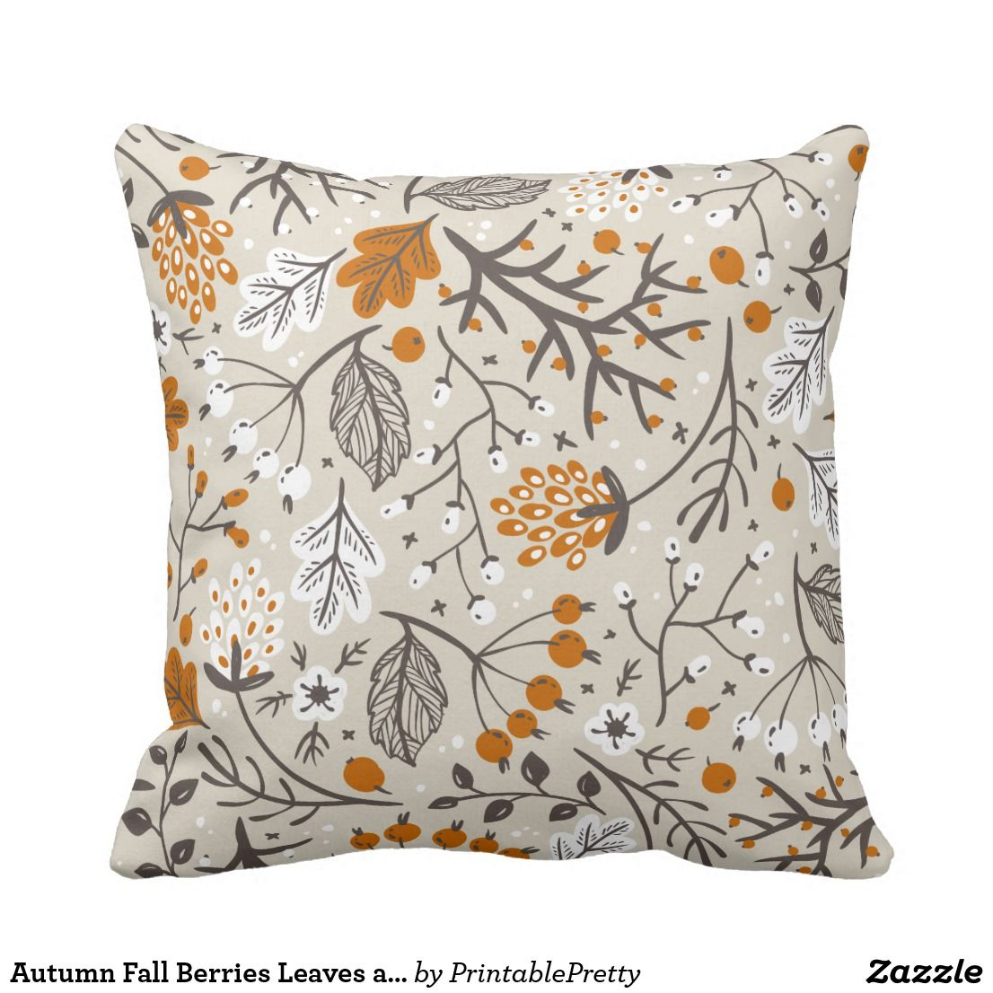 Autumn fall berries leaves and branches pattern throw pillow in