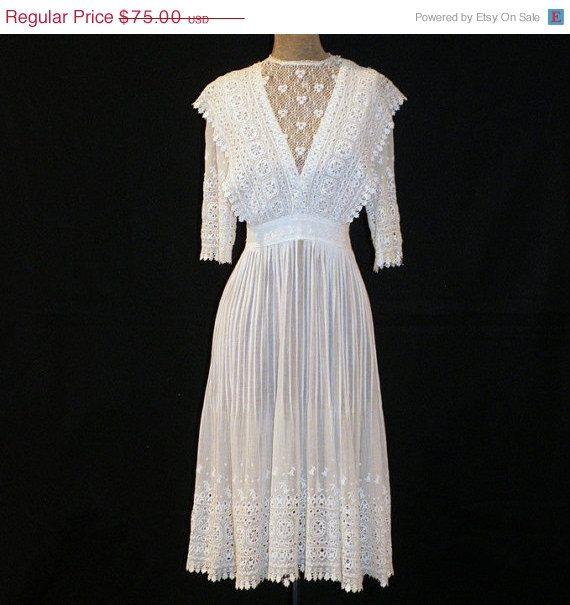 Antique White Cotton Muslin Tea Lawn Day Dress