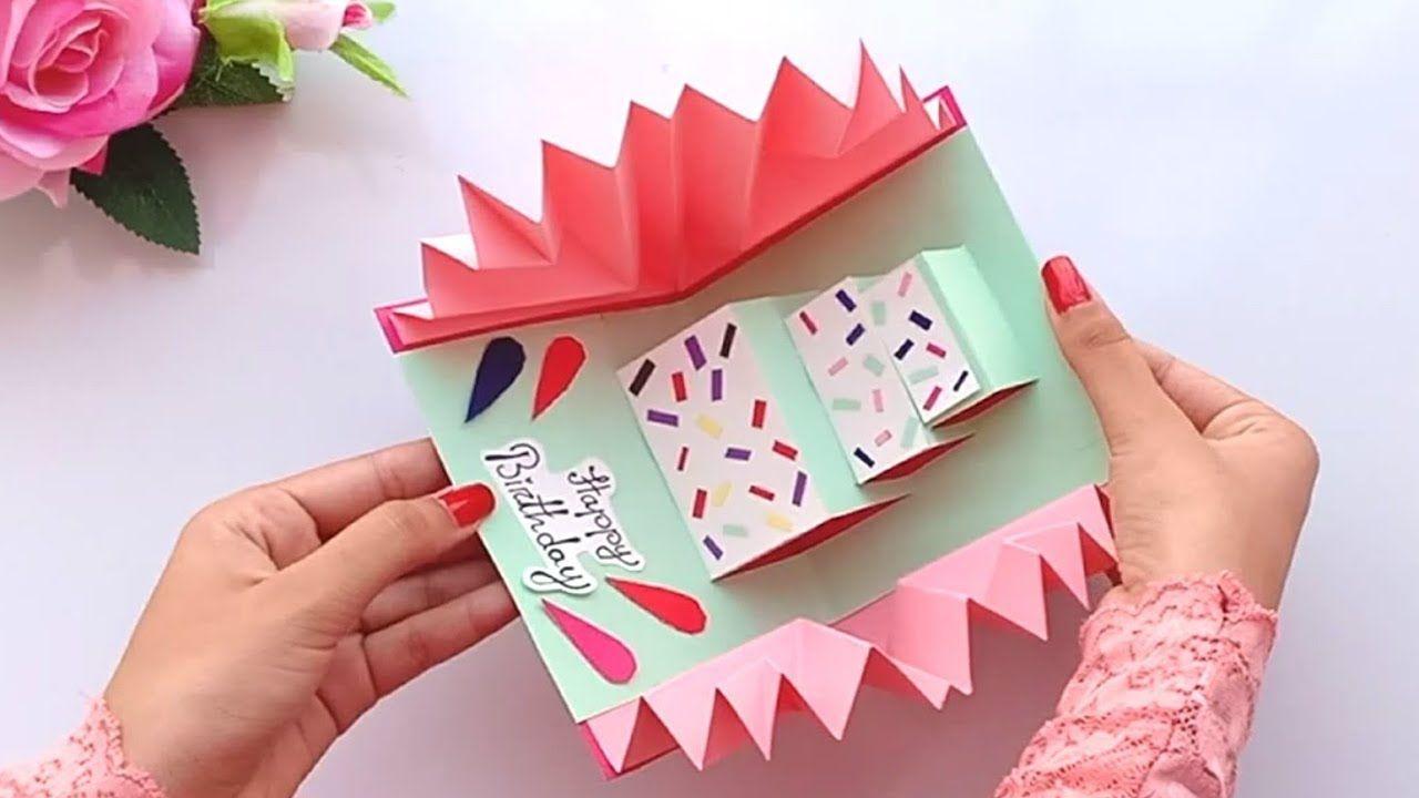 Diy Cake Pop Up Card For Birthday Easy 3d Cards Diy Beautiful Handmade Birthday Card Idea Youtube Handmade Birthday Cards 3d Cards Diy Birthday Cards