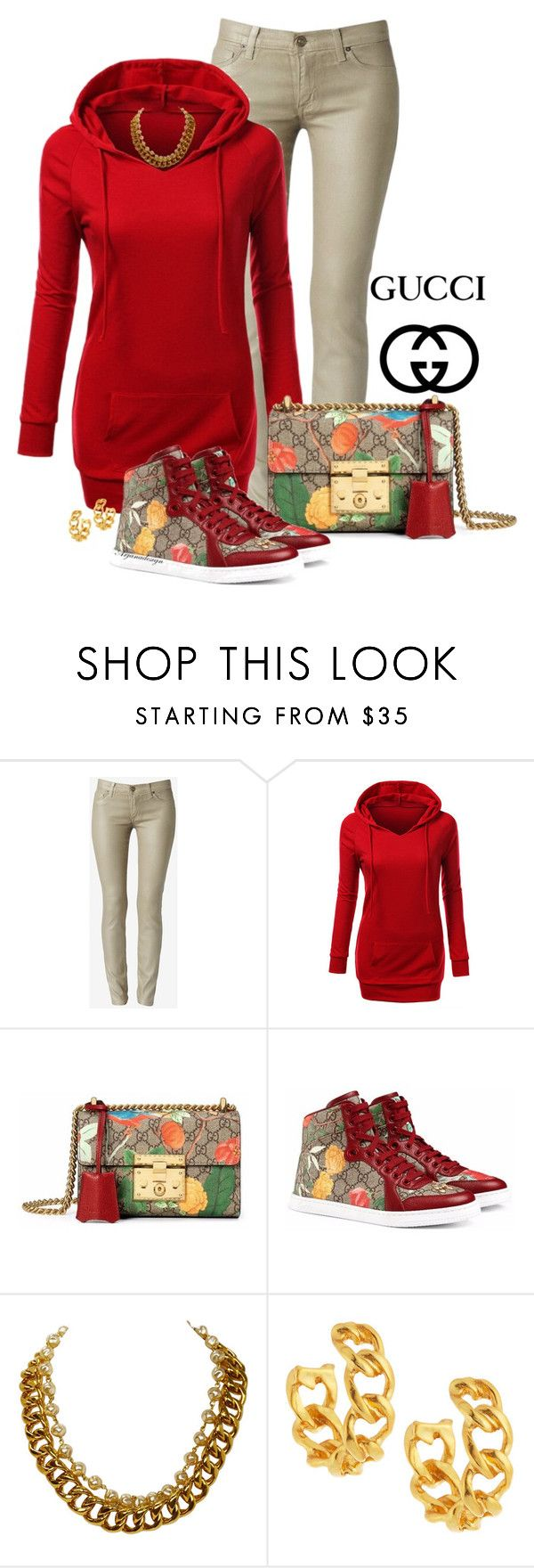 """""""GUCCI TIAN COLLECTION"""" by arjanadesign ❤ liked on Polyvore featuring Gucci, Chanel, Kenneth Jay Lane, women's clothing, women, female, woman, misses and juniors"""