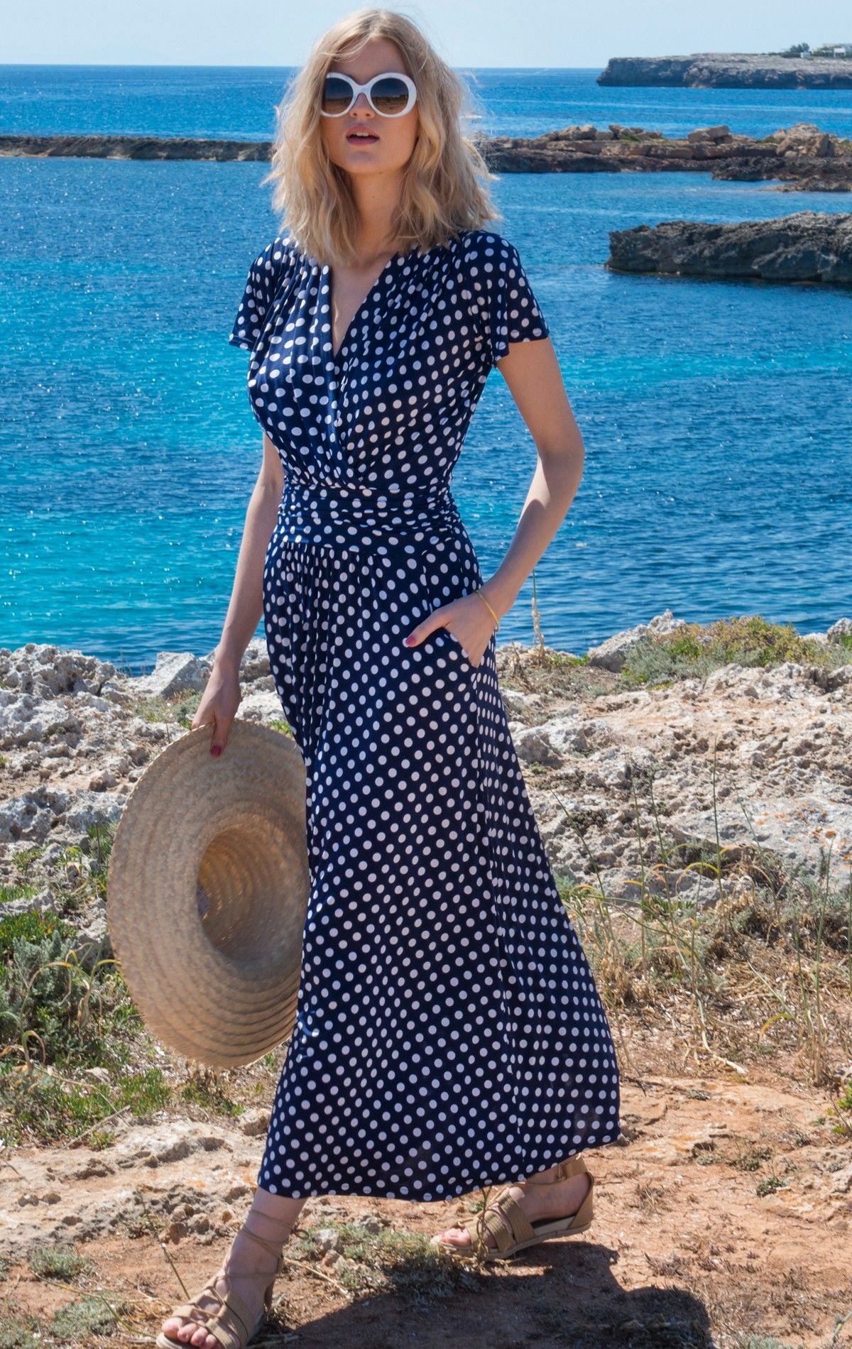 Katie Blu | Blue Print Summer Sleeveless Wrap Dress: The Katie Polka ...