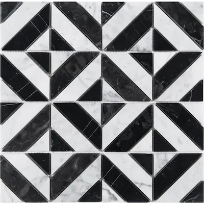 Satori Nero Parquet Polished 12 In X 12 In Polished Marble Look Wall Tile Lowes Com Mosaic Wall Tiles Quartz Wall Tiles Marble Wall Tiles