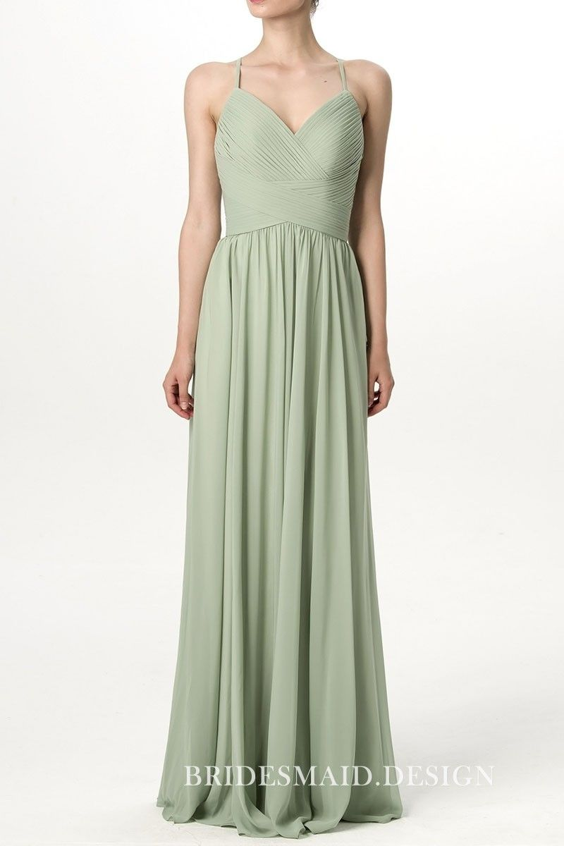 Pleated Bodice Pale Green Chiffon A Line Long Bridesmaid Dress Curved V Neckline With Spaghetti Straps
