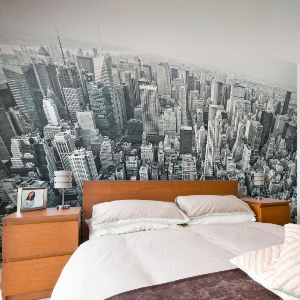 New York Wall Mural Ideas In Bedroom Area With Wood Headboard Table Lamp Shades White Pillow