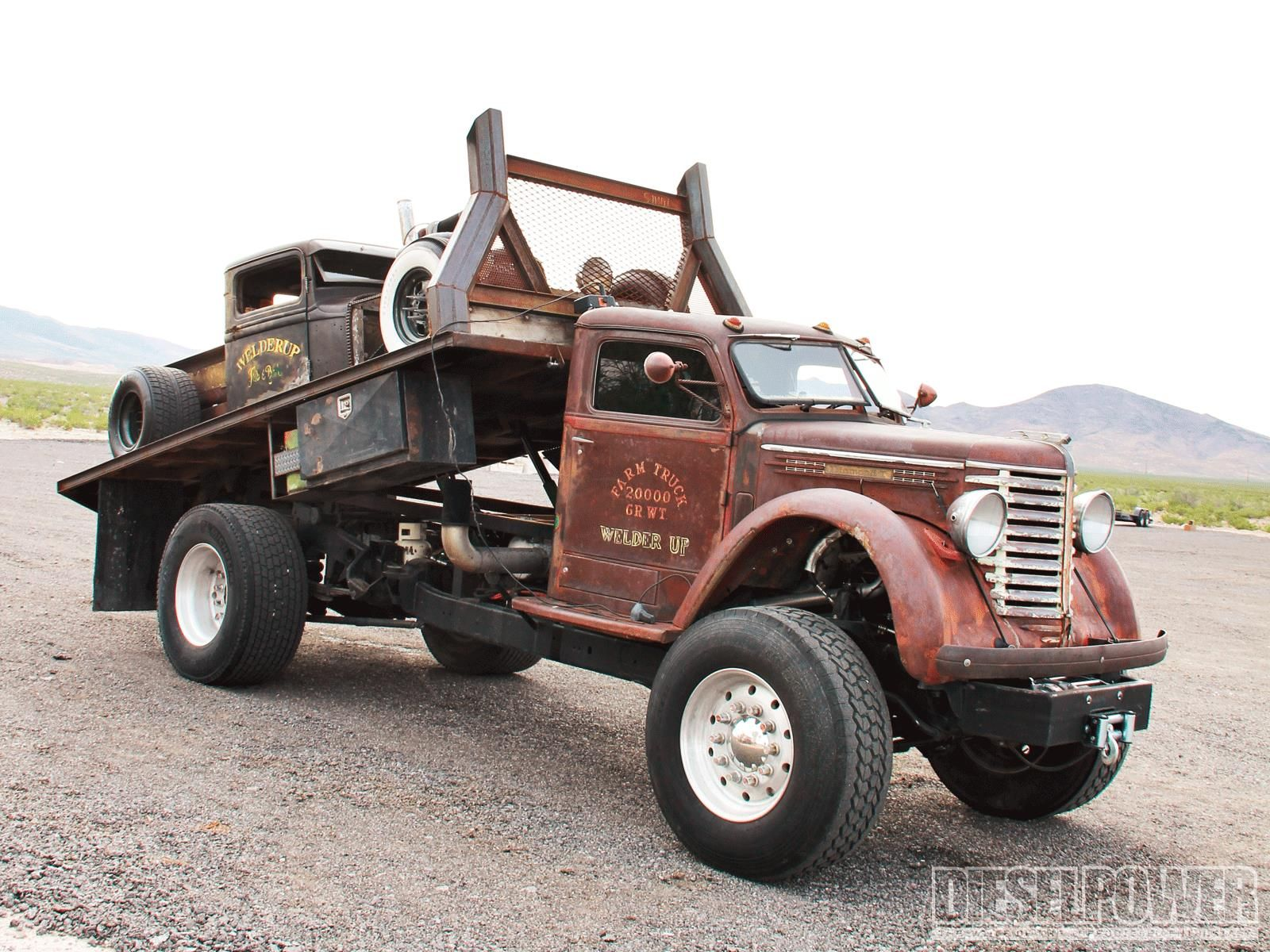 Old Diesel Truck Hauling a Rat Rod | Diesel Cars & Trucks ...