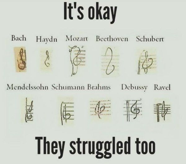 This Collection Of Treble Clefs That Will Make You Feel Better About Drawing Your Own Music Jokes Band Jokes Music Memes