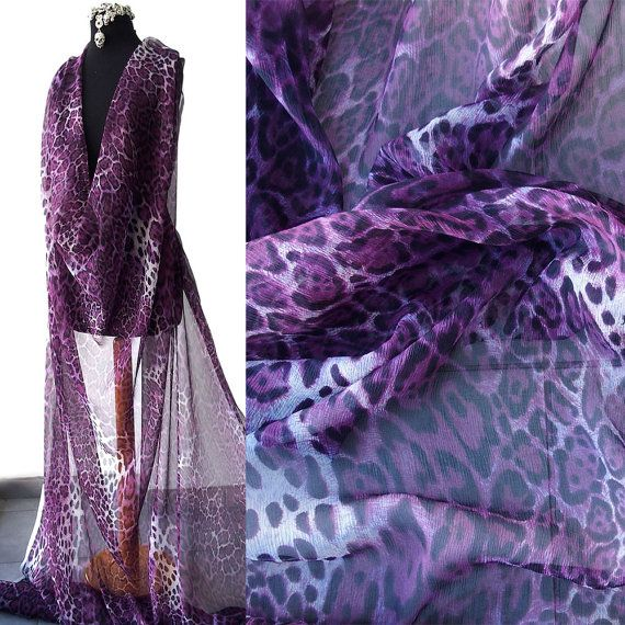silk chiffon fabric animal print leopard design plum purple