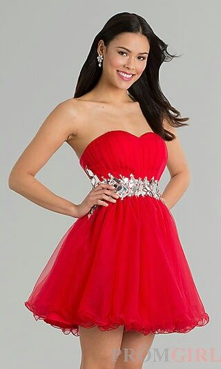 Baby Doll Long Red Prom Dresses