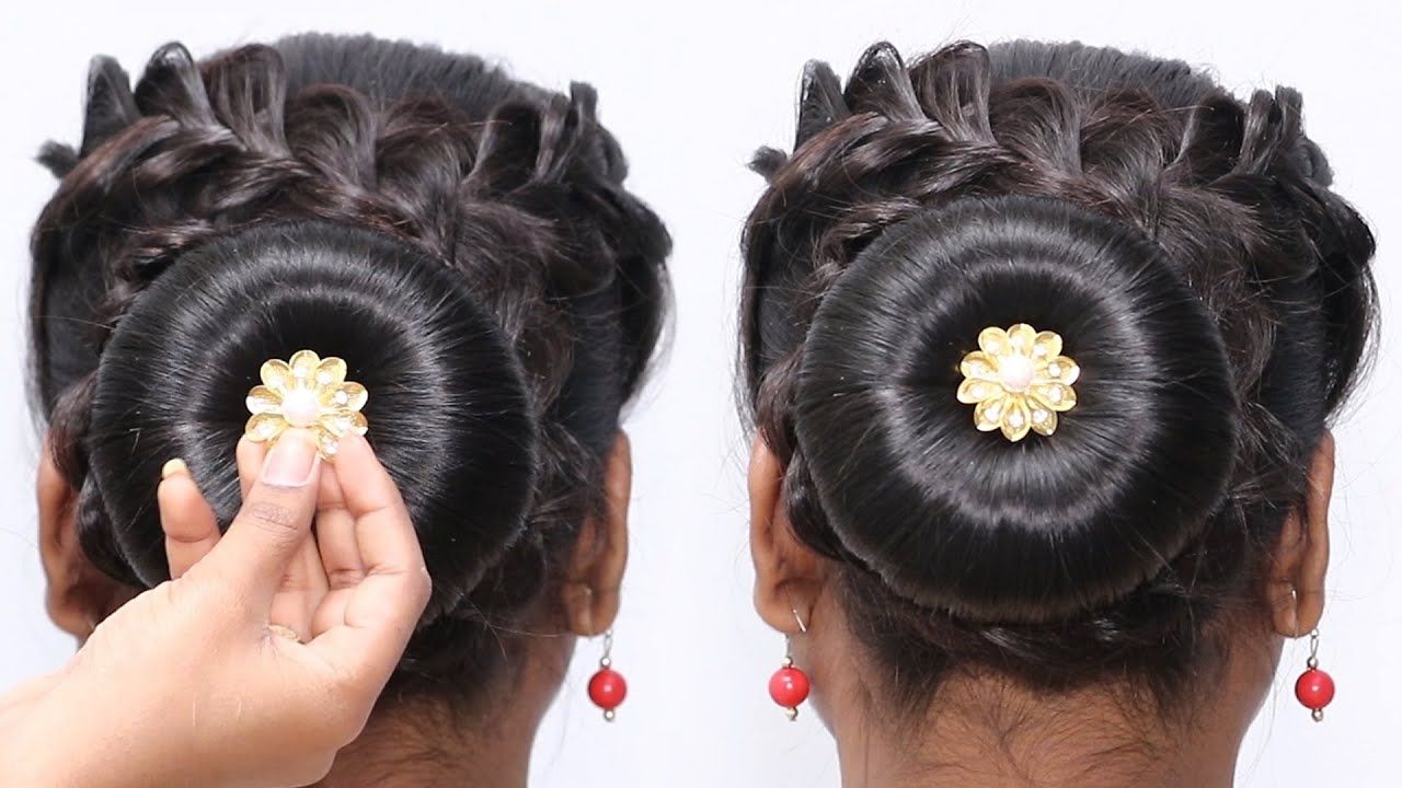 Cute Juda Hairstyles Festive Hairstyle Juda Bun With Flower Bun Hairstyles