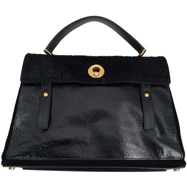 Preowned Yves Saint Laurent Rive Gauche Leather And Pony Hair Tote ($2,400) ❤ liked on Polyvore featuring bags, handbags, tote bags, multiple, black tote purse, black leather tote, leather handbag tote, leather tote handbags and leather purse