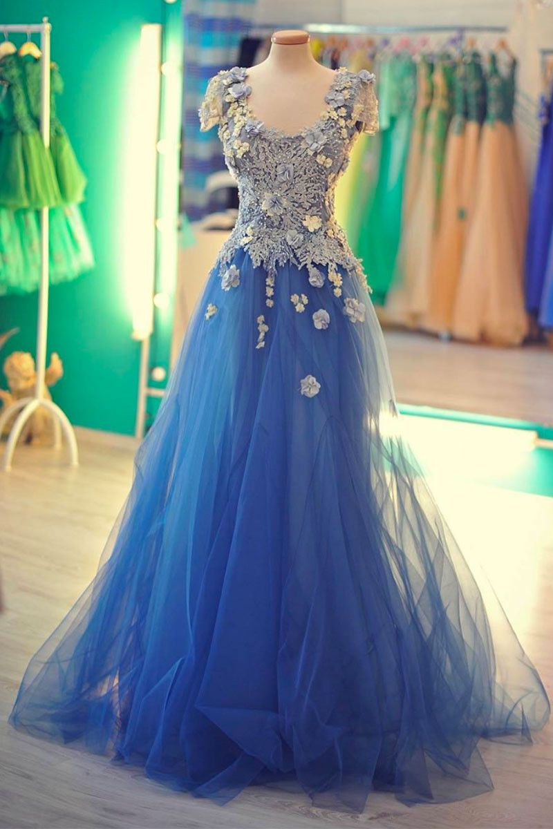 New design blue tull long lace appliques prom dress royal blue d