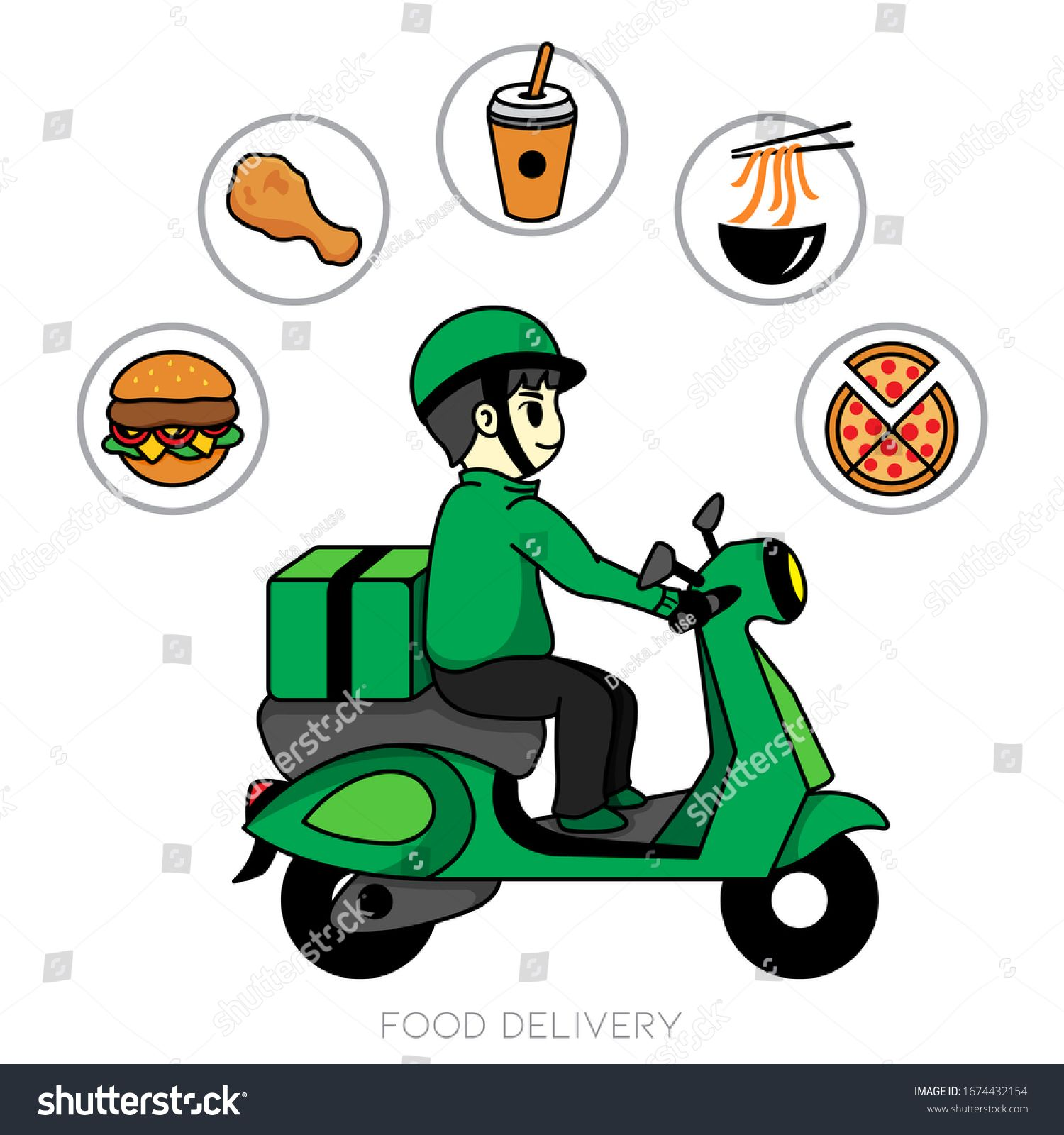 Food Delivery Bike Icon Vector Motorcycle Service Icon Food