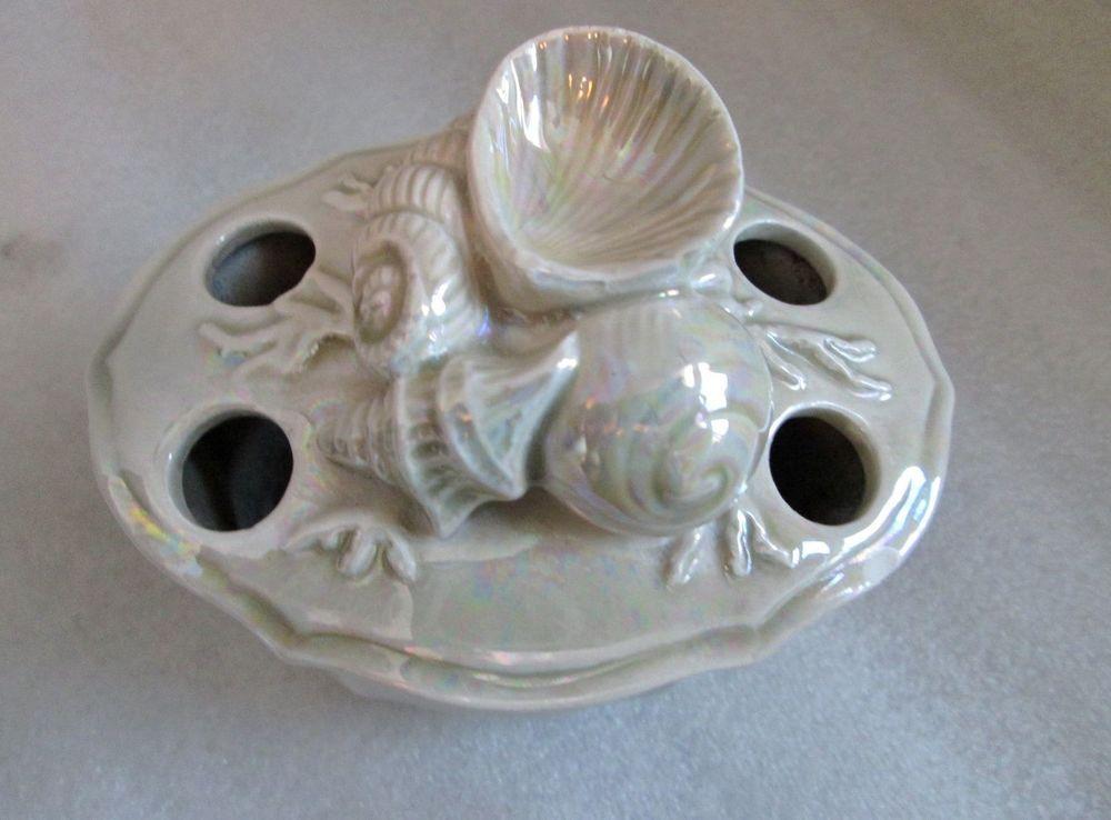VINTAGE JAPAN LUSTERWARE TOOTHBRUSH HOLDER! unique shell shape holds 4 brushes
