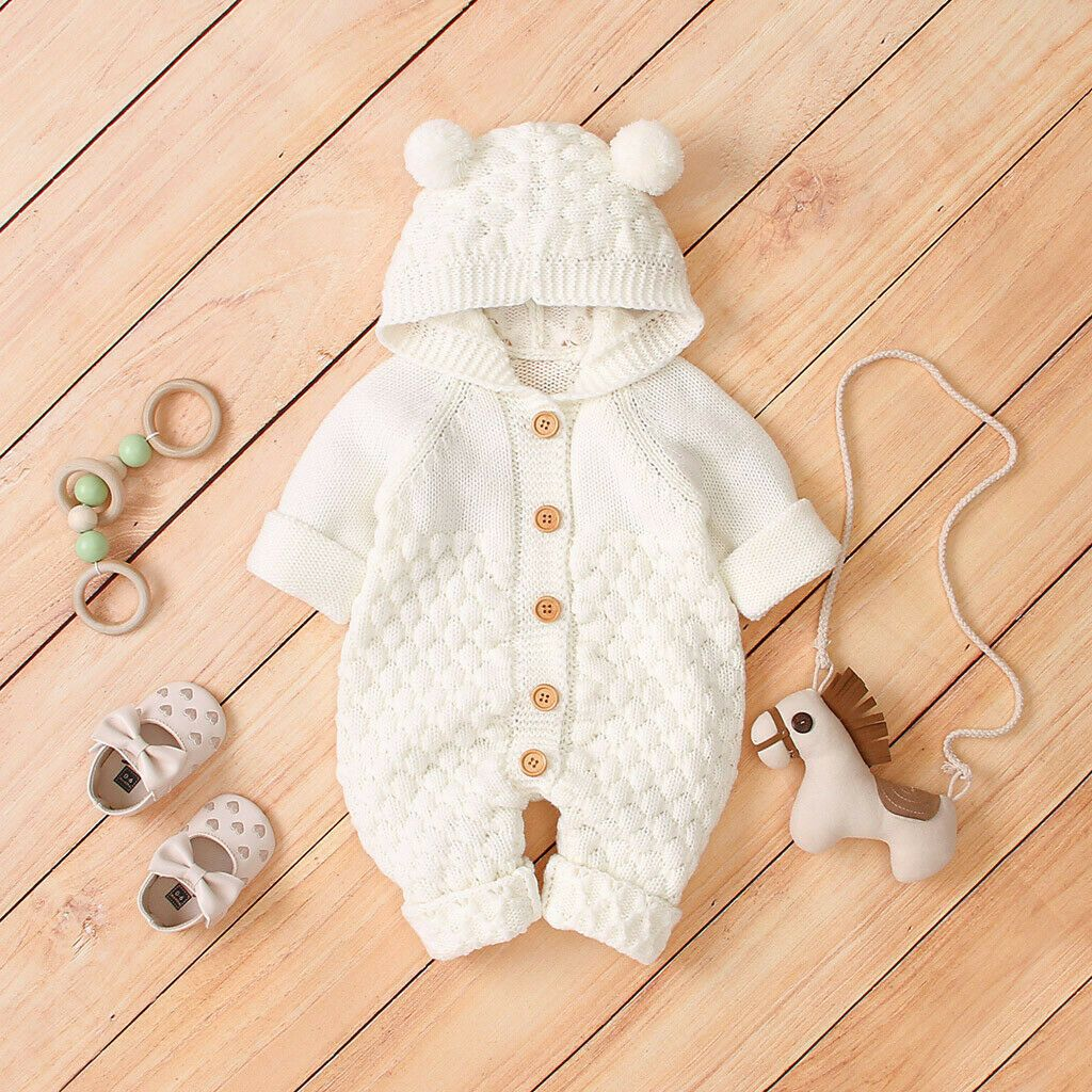 US Newborn Baby Romper Infant Boys Girl Hooded Jumpsuit Bodysuit Outfits Clothes