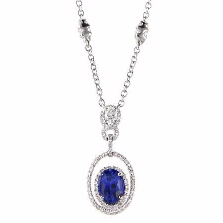 .82ct Diamond and Blue Sapphire 18k White Gold Pendant Necklace