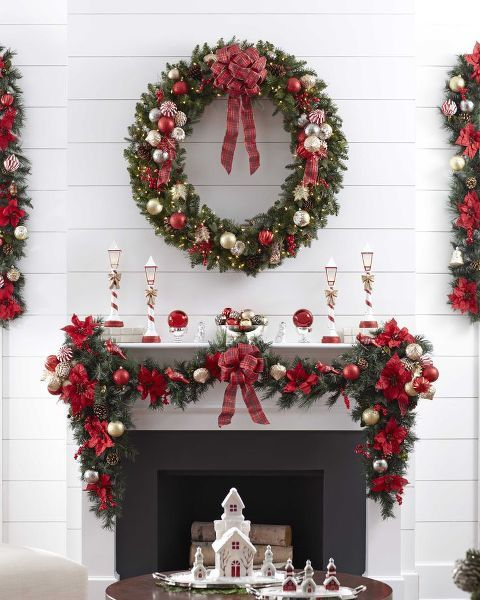 christmas-mantel-10 Xmas Pinterest Christmas mantels, Mantels - christmas fireplace decor