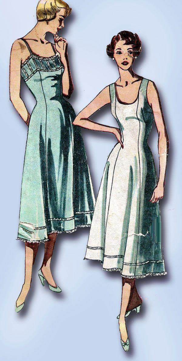 1950s Vintage Plus Size Slip Uncut 1950 Simplicity Sewing Pattern