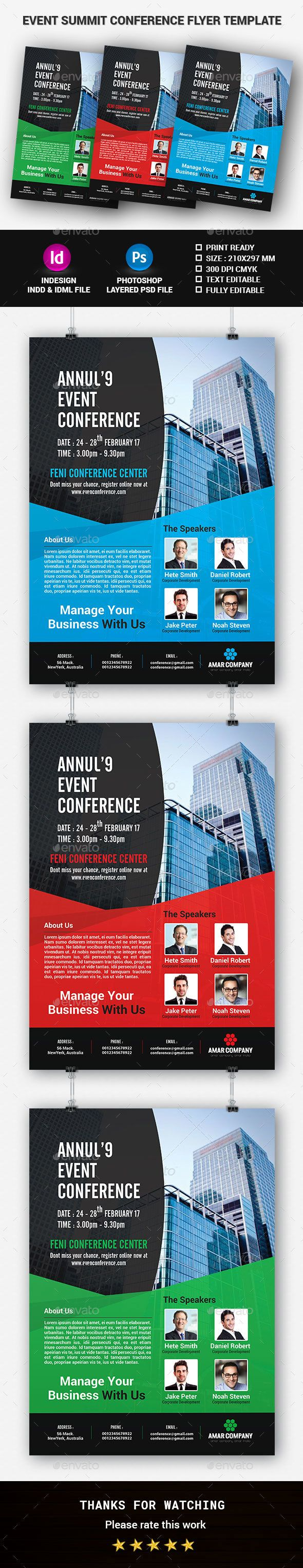 Event Summit Conference Flyer Template  Flyer Template Font Logo