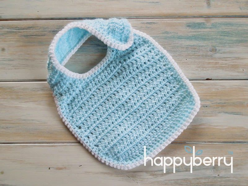 Happy Berry Crochet: How To Crochet a Newborn Baby Bib - Yarn Scrap ...