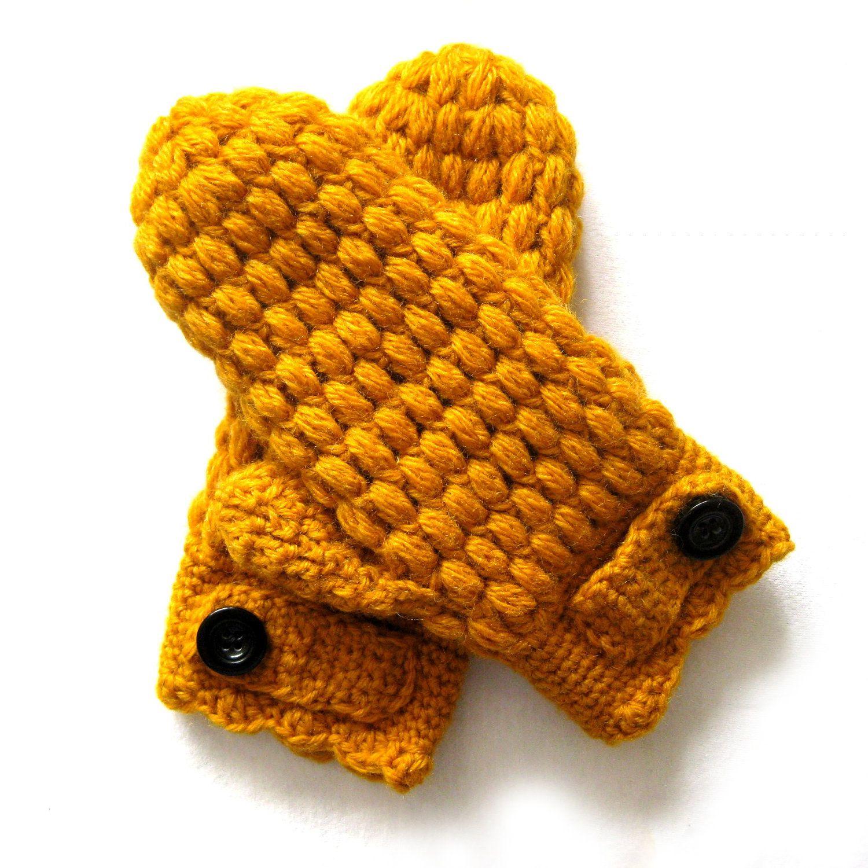 Puff Mittens Crochet Pattern | Crochet | Pinterest