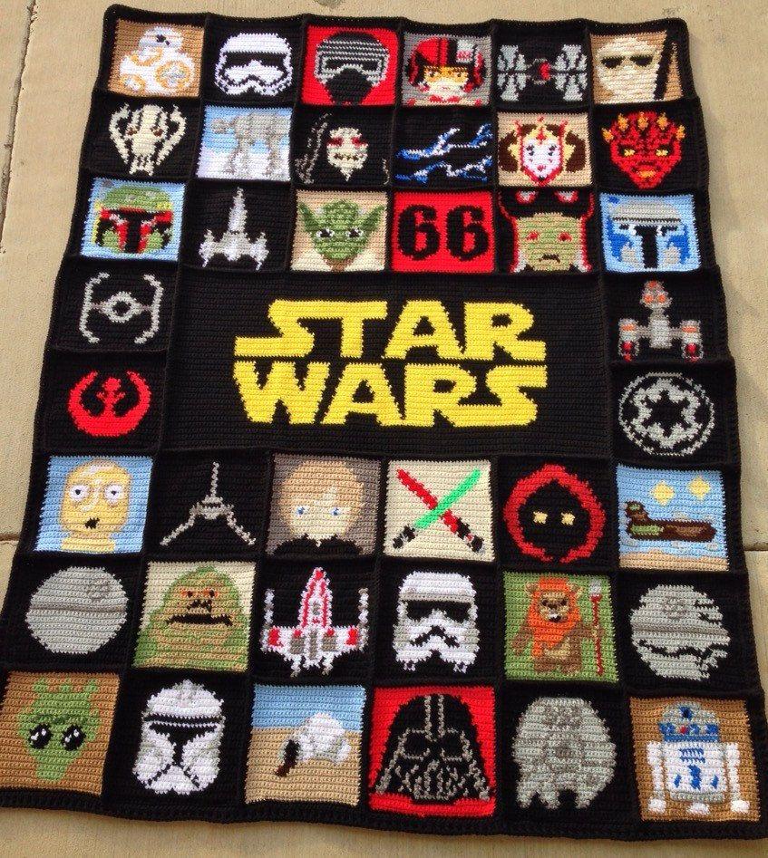 Afghans Knitting Star Charts Wars