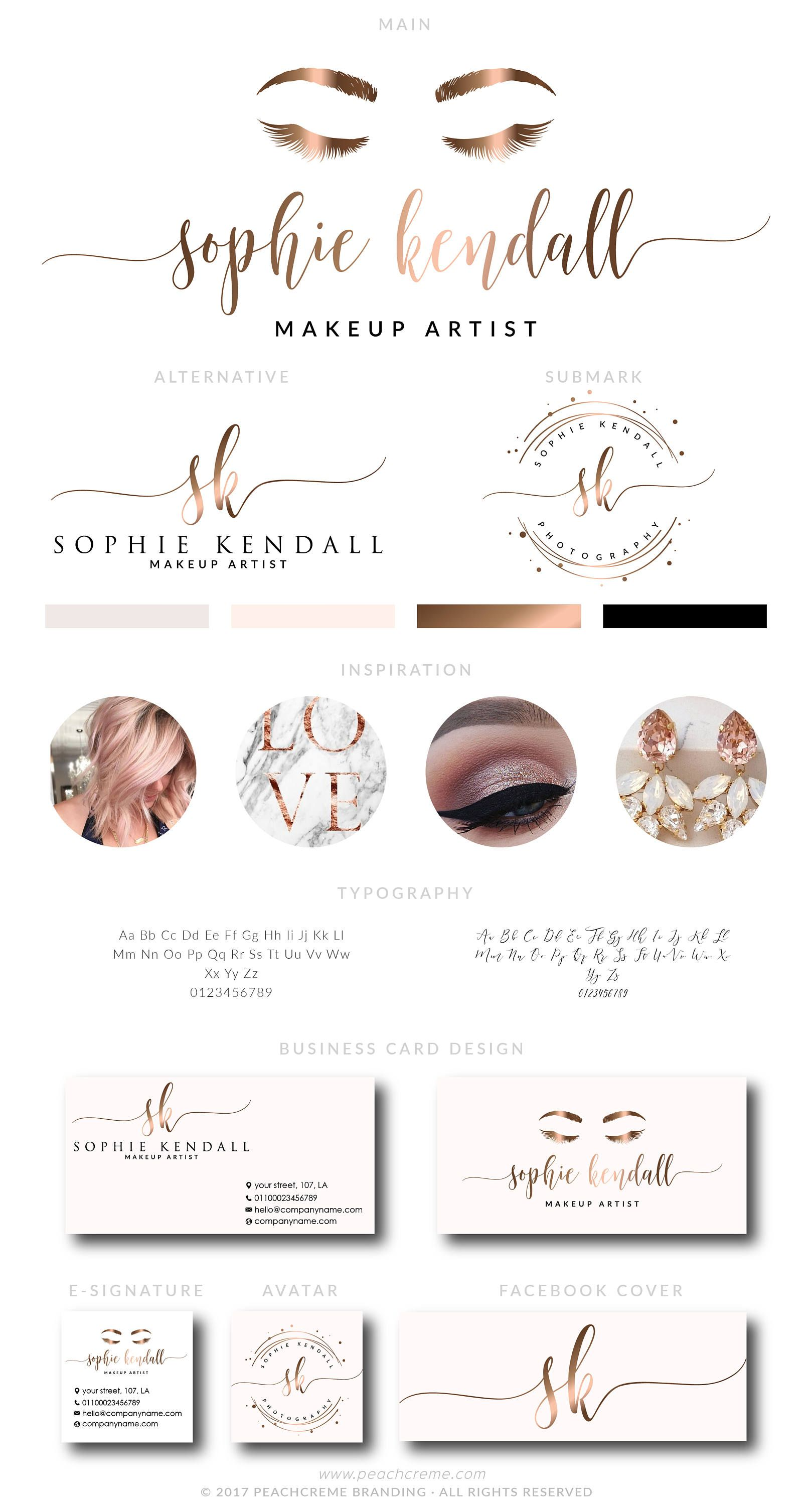 Sophie kendall kit pinterest sobrancelhas cartes de visita e makeup logo design lashes logo design rose gold branding kit makeup rose gold reheart Images