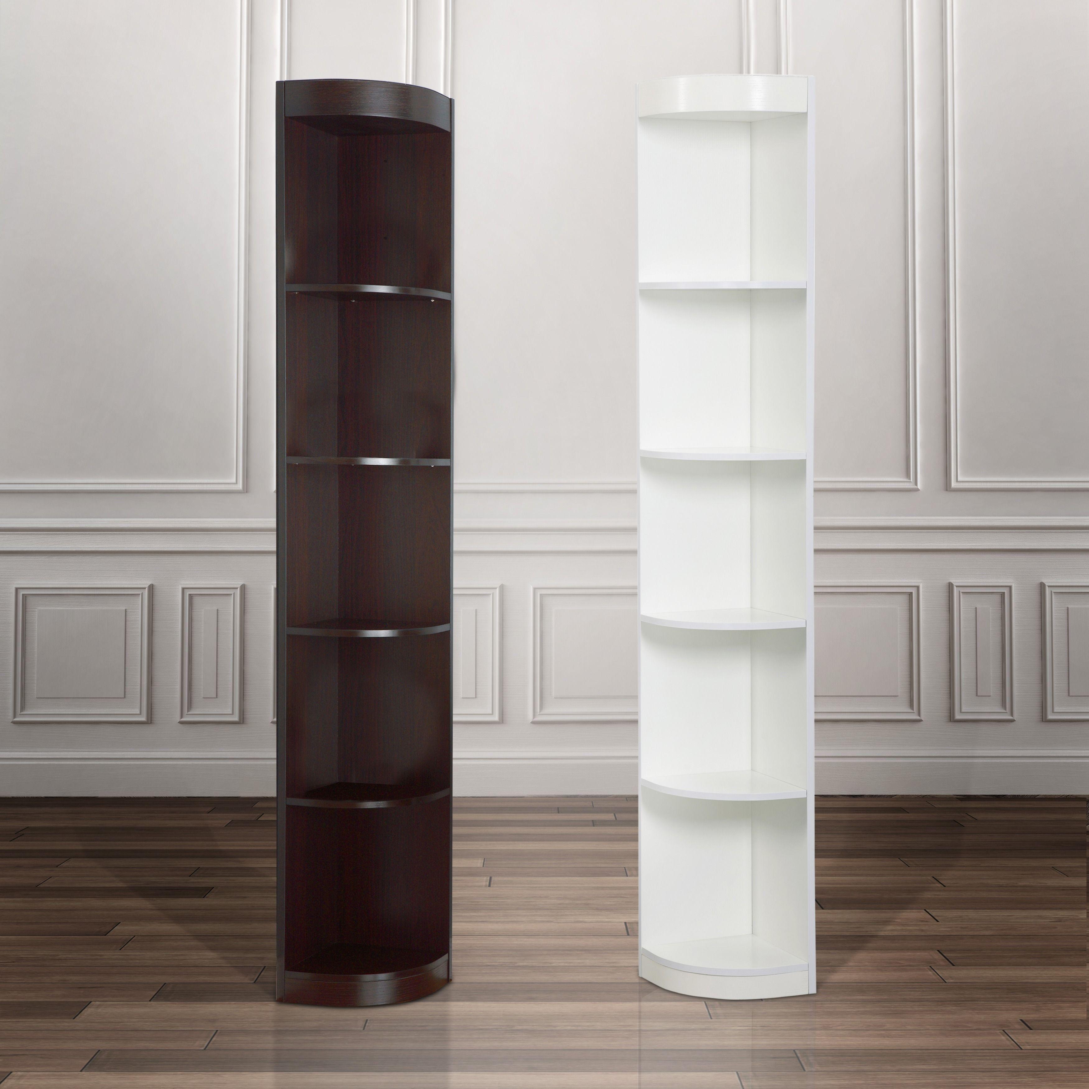 Furniture Of America Corner 5 Shelf Display Stand Dark Walnut Brown